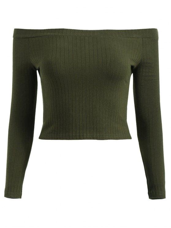 T-Shirt Court Côtelé à Épaules Dénudées - Vert Forêt Noire M