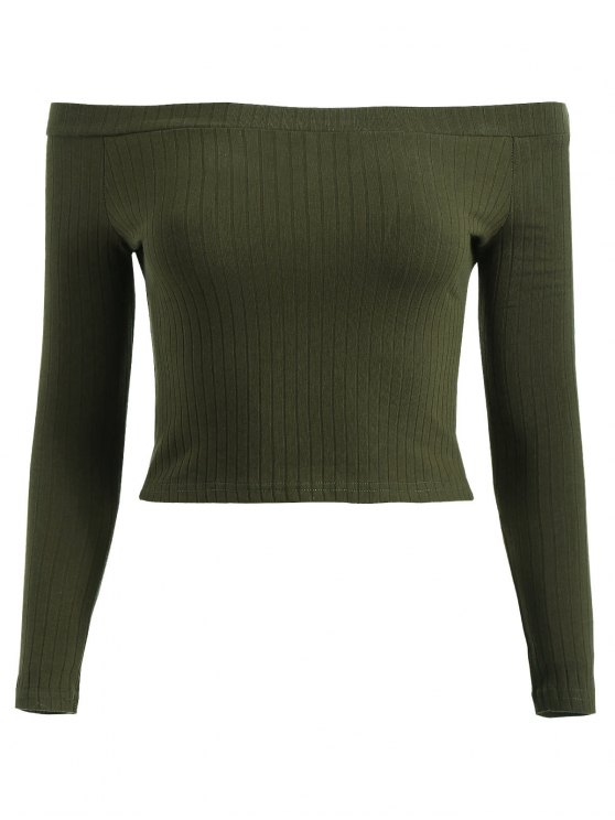 buy Off Shoulder Ribbed Crop Tee - DARK FOREST GREEN S