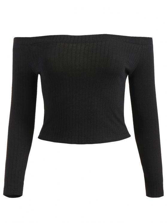 Camiseta sin hombros con costuras recortadas - Negro S