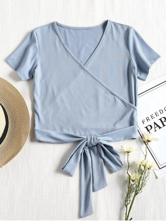 unique Short Sleeve Ribbed Faux Wrap Tee - POWDER BLUE M
