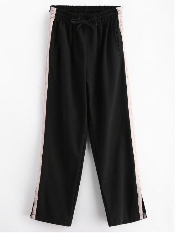 Stripes Panel Slit Wide Leg Pants - Preto S