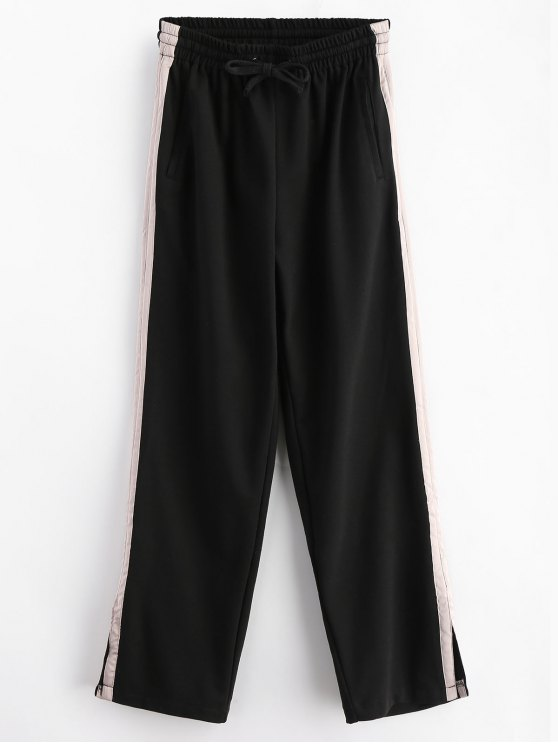 ladies Stripes Panel Slit Wide Leg Pants - BLACK M