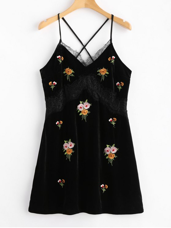 hot Lace Panel Velvet Embroidered Mini Dress - BLACK S
