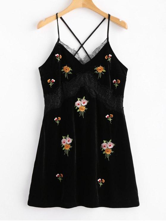 shops Lace Panel Velvet Embroidered Mini Dress - BLACK L