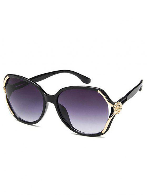 النظارات الشمسية مكافحة التعب منحوتة زهرة مزينة - أسود