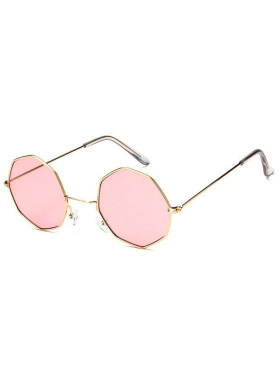 Óculos de sol geométricos de metal - Rosa Claro