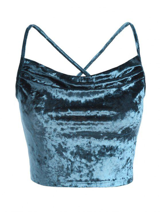lady Lace Up Velvet Crop Cami Top - GREENISH BLUE S