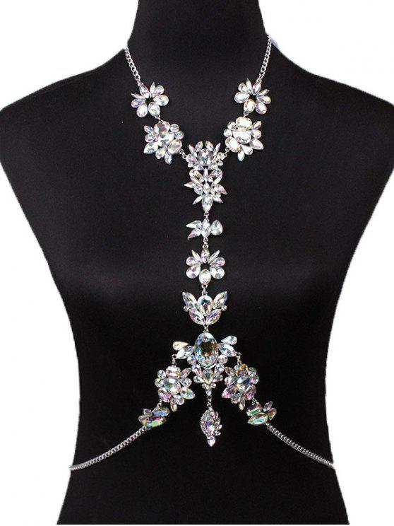 fashion Sparkly Rhinestone Faux Crystal Body Chain - WHITE