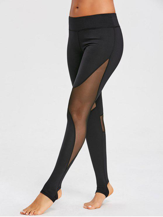Mesh-Panel Steigbügel Sport Leggings - Schwarz S