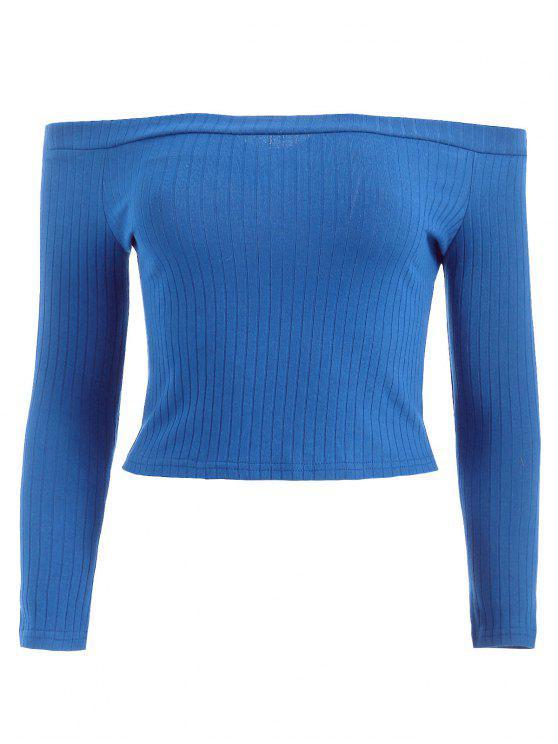 best Off Shoulder Ribbed Crop Tee - BLUE L