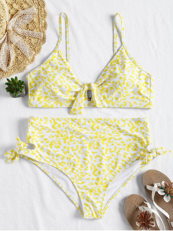 fancy Plus Size Knot High Waisted Bikini - YELLOW 1X