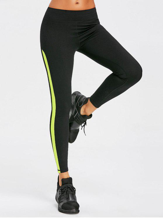 Leggings Sportivi Con Inserti In Maglia - Verde Tè S