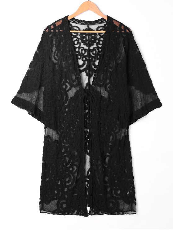 fancy Sheer Lace Embroidered Kimono Cover Up - BLACK ONE SIZE