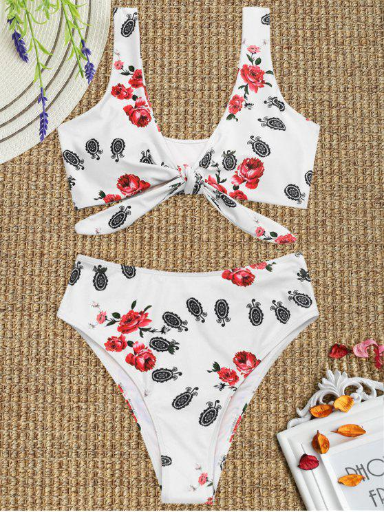 Bikini Con Taglio Alto Annodato Stampato - Bianca M