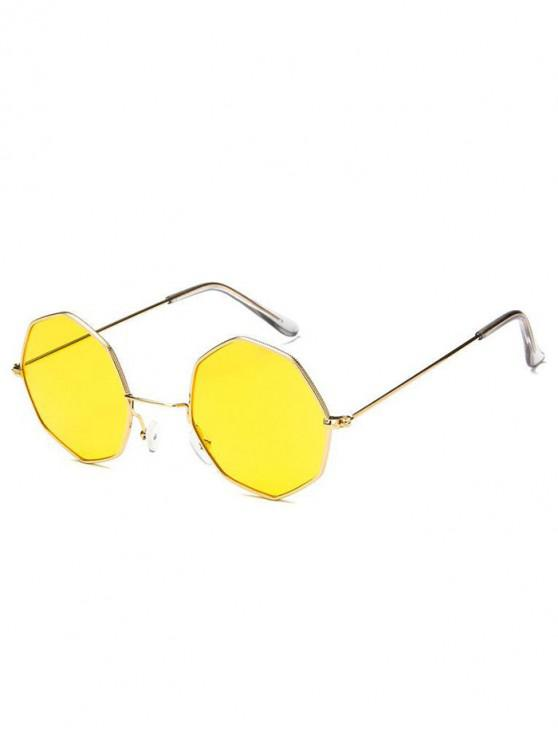 latest Geometric Metal Sunglasses - YELLOW