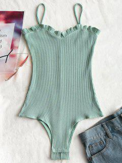 Ruffles Ribbed Cami Bodysuit - Light Green M