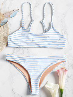 Cami Striped Bralette Bikini Set - Blue L