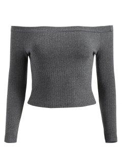Off Shoulder Ribbed Crop Tee - Gray S