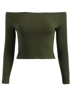 Off Shoulder Ribbed Crop Tee - Dark Forest Green L