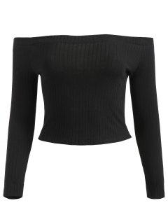 Off Shoulder Ribbed Crop Tee - Black L