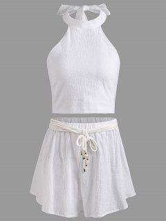 Halter Backless Crop Top And Shorts Set - White M
