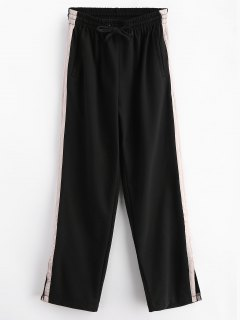 Stripes Panel Slit Wide Leg Pants - Black M