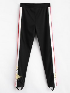 Sports Embroidered Stirrup Pants - Black S