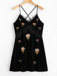 Lace Panel Velvet Embroidered Mini Dress - Black S