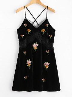 Mini Vestido Bordado Terciopelo Panel De Encaje - Negro L