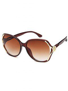 Anti Fatigue Carved Flower Decorated Sunglasses - Coffee