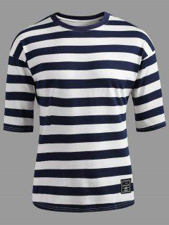 Drop Shoulder Striped T-shirt - Dark Slate Blue Xl