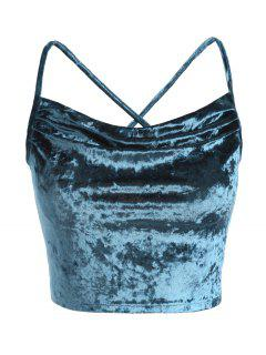 Lace Up Velvet Crop Cami Top - Greenish Blue M