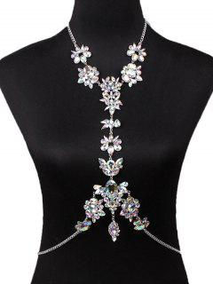 Sparkly Rhinestone Faux Crystal Body Chain - White