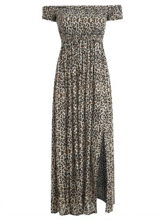 Vestido Largo Con Hombros Descubiertos Y Leopardo - Leopardo L