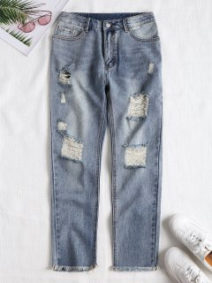 Frayed Destroyed Straight Jeans - Denim Blue M