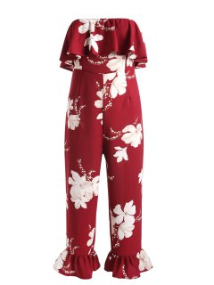 Floral Print Ruffled Strapless Jumpsuit - Red Wine L