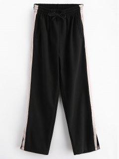 Pantalones De Rayas Con Paneles Anchos - Negro L
