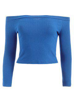 Off Shoulder Ribbed Crop Tee - Blue L