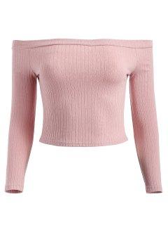 Off Shoulder Ribbed Crop Tee - Pink S