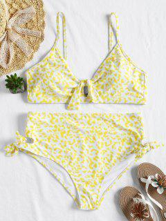 Plus Size Knot High Waisted Bikini - Yellow 1x