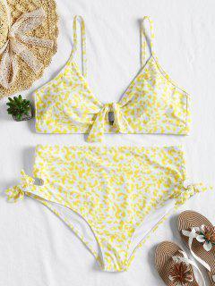 Plus Größe Knoten Hoch Taillierte Bikini - Gelb 3x