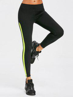 Mesh Insert Sports Leggings - Tea Green M