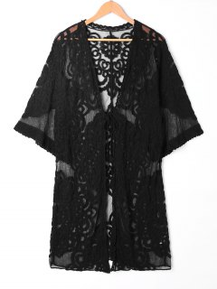 Sheer Lace Embroidered Kimono Cover Up - Black
