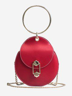 Chic Top Handle Handbag With Chain - Red