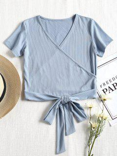Short Sleeve Ribbed Faux Wrap Tee - Powder Blue L