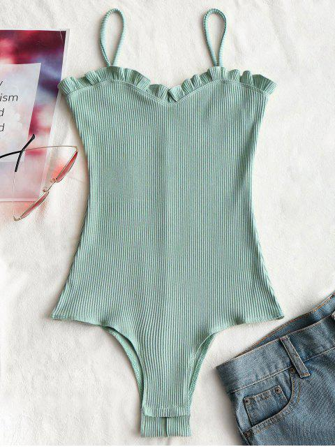 new Ruffles Ribbed Cami Bodysuit - LIGHT GREEN M Mobile