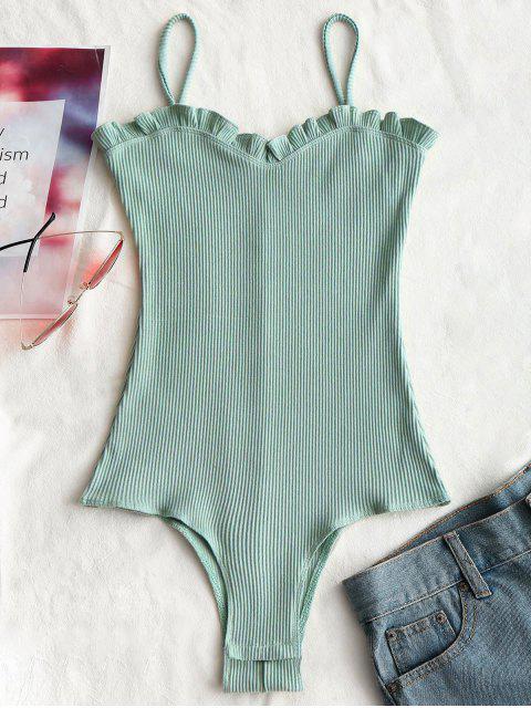 Rüschen Gerippter Cami Bodysuit - Hellgrün S Mobile