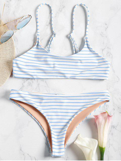 chic Cami Striped Bralette Bikini Set - BLUE S Mobile