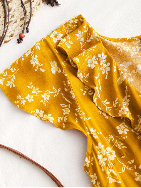 shop Tiny Floral Ruffle Mini Wrap Dress - YELLOW L Mobile