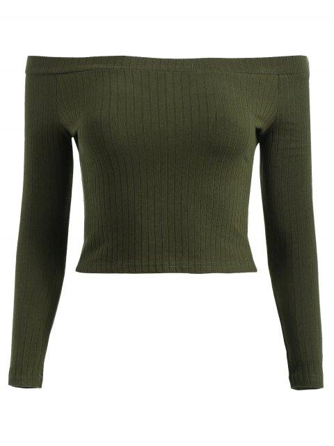 T-Shirt Court Côtelé à Épaules Dénudées - Vert Forêt Noire S Mobile
